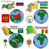 Posizione Russia, Ruanda, Arabia Saudita, Senegal Illustrazione di Stock