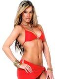 Posizione sexy di modello nel colore rosso Fotografia Stock