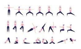 Posizione stabilita di yoga di pratica della donna di forma fisica fotografia stock