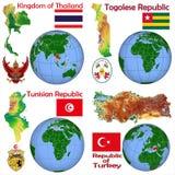 Posizione Tailandia, Togo, Tunisia, Turchia Illustrazione Vettoriale