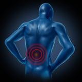 Posizione umana della spina dorsale di dolore alla schiena Fotografia Stock Libera da Diritti