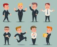 Posizioni differenti ed uomo d'affari Character Icons Set di azioni Immagine Stock
