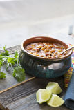 Posole with Lime Vertical Royalty Free Stock Photography
