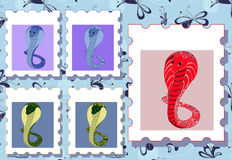 Posrage stamps with cobras Royalty Free Stock Photos