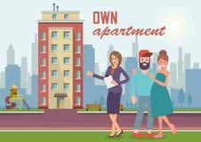 Posséder l'appartement Illustration plate de vecteur illustration stock