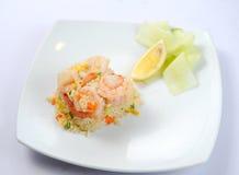 Posséder le riz frit de crevette thaïe de type Photographie stock