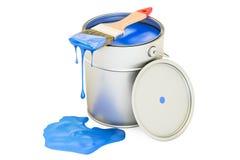 Possa com pintura e a escova azuis Imagens de Stock