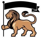 Posse da mascote do leão uma bandeira ilustração royalty free