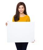 Posse da mulher com palcard Imagens de Stock