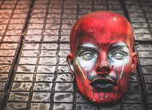 Possessed Demonic mannequin doll Satan. On The Floor, With Place Your Text, Horror Concept Stock Photo