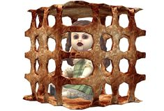 A possessed doll trapped contained in a square rusty iron cage. A computer generated illustration image of a possessed doll trapped contained in a square rusty royalty free illustration