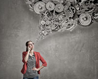 She possesses constructive thinking Stock Images