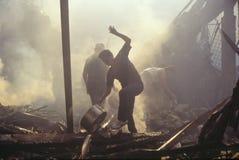 Possessi di salvataggio della famiglia dopo i tumulti, fotografia stock libera da diritti