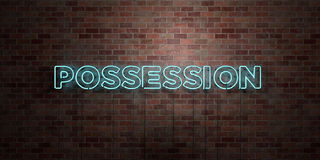 POSSESSION - fluorescent Neon tube Sign on brickwork - Front view - 3D rendered royalty free stock picture. Can be used for online banner ads and direct Royalty Free Stock Image