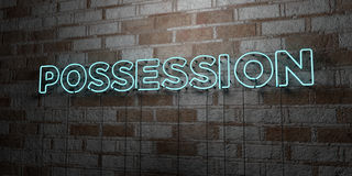 POSSESSION - Glowing Neon Sign on stonework wall - 3D rendered royalty free stock illustration Stock Image