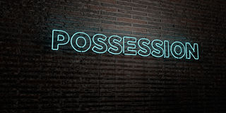 POSSESSION -Realistic Neon Sign on Brick Wall background - 3D rendered royalty free stock image. Can be used for online banner ads and direct mailers Royalty Free Stock Photos