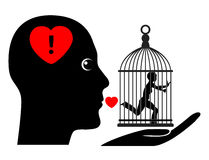 Possessive Husband. Humorous concept sign of wife living in a gilded cage controlled by dominant spouse Stock Image