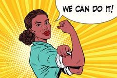 Possiamo farlo femminismo e protesta della donna di colore illustrazione vettoriale