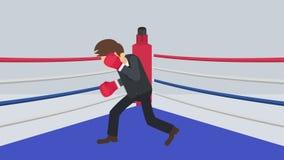 Possibilidade do negócio e conceito do sucesso Luta no anel de encaixotamento Homem de neg?cios Wearing Boxing Gloves Luta do box ilustração stock