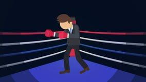 Possibilidade do negócio e conceito do sucesso Luta no anel de encaixotamento Homem de neg?cios Wearing Boxing Gloves Luta do box ilustração do vetor