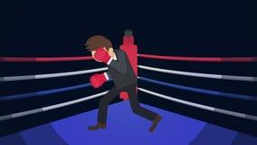 Possibilidade do negócio e conceito do sucesso Luta no anel de encaixotamento Homem de neg?cios Wearing Boxing Gloves Luta do box ilustração royalty free