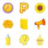 Possibility of money icons set, cartoon style. Possibility of money icons set. Cartoon set of 9 possibility of money vector icons for web isolated on white Stock Photo