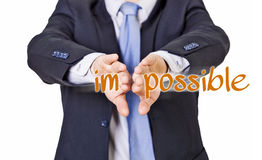 Possible businessman. Business man who makes the impossible possible royalty free stock image