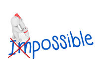 Possible. Concept,The men were removed Im from Im , Changing the word im to  with a pen , 3d rendering Royalty Free Stock Images