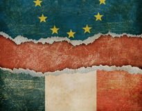 Possible France withdrawal from European union Frexit concept 3d illustration. European union and France flags on cardboard pieces Stock Photo
