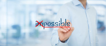 Possible. Or im? Businessman change negative think to positive. Wide banner composition with office in background royalty free illustration