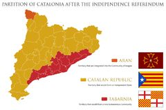 Possible Map and Flags of Catalonia after the Referendum. Illustration of a Possible Map and Flags of Catalonia after the Referendum Stock Images