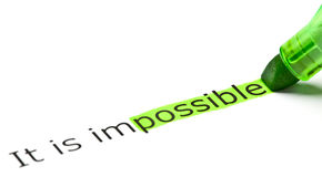 It Is Possible Not Impossible. The word Possible highlighted in green as a part of the word Impossible Royalty Free Stock Image