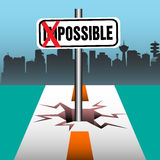 Possible plate. Abstract colorful background with the word impossible written on a plate, but the two first letters crossed with red marks. Change against the Stock Photos