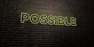 POSSIBLE -Realistic Neon Sign on Brick Wall background - 3D rendered royalty free stock image Royalty Free Stock Photo