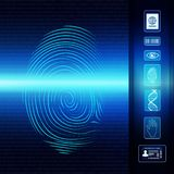Biometric electronic system for identification of individual identity. Fingerprint scan. Icons Id-eye-barcode-dna-passport. Possible use in criminology, in the royalty free illustration