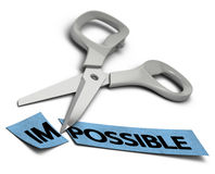 Possible vs impossible. Word impossible cut in two parts im and possible. Scissors at the background over white stock illustration
