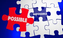 Possible Vs Impossible Attitude Puzzle Piece. Filling Hole 3d Illustration Royalty Free Stock Image