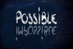 Possible vs. impossible, challenge concepts on blackboard Royalty Free Stock Images