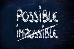 Possible vs. impossible, challenge concepts on blackboard. Impossible becomes possible, writing on blackboard Royalty Free Stock Photos