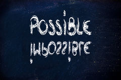Possible vs. impossible, challenge concepts on blackboard Royalty Free Stock Image