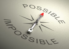 Possible VS Impossible. Needle of a compass pointing on the word possible, Realistic 3D render with depth of field, blur effect on the word impossible vector illustration