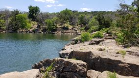 View One of Lake Cove at Possum Kingdom State Park. Possum Kingdom State Park Cove View at the Lake with blue skies and reflections in the clear water stock photography