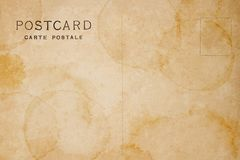 Postérieur de carte postale vide avec la tache Image libre de droits