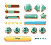 Postępów bary, guziki, detonatory, ikony dla gra komputerowa interfejsu użytkownika Wektorowa kolekcja royalty ilustracja