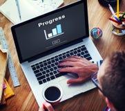 Postępu rozwoju Imrpovement popierania pojęcie zdjęcia royalty free