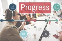 Postępu ulepszenia misi rozwoju Inwestorski pojęcie obraz royalty free