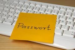Post-it écrit par concept facile de mot de passe images libres de droits
