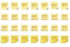 POST-IT καθορισμένη πώληση 5 35% ΣΗΜΕΙΩΣΕΩΝ Στοκ εικόνες με δικαίωμα ελεύθερης χρήσης