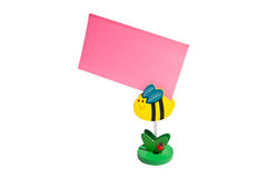 Post-it. Pink post-it attached to the flowers, waiting for your message Royalty Free Stock Photos