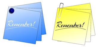 Post-it. Two ideas of post-it with the word remember Stock Photo